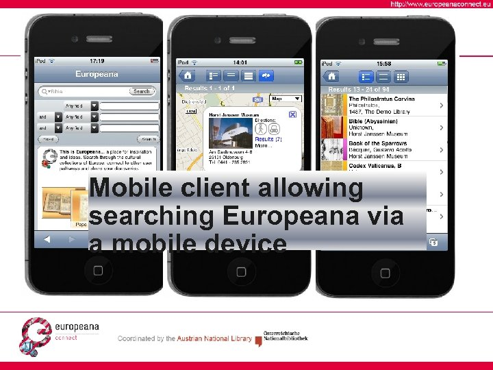 Mobile client allowing searching Europeana via a mobile device