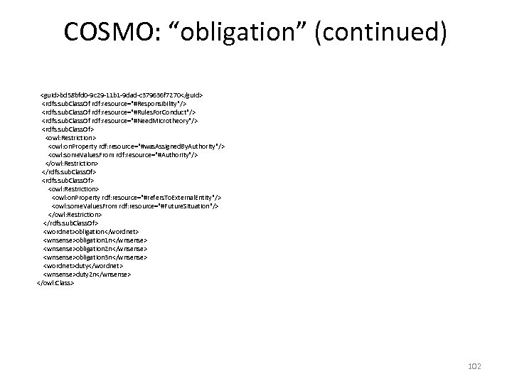 "COSMO: ""obligation"" (continued) <guid>bd 58 bfd 0 -9 c 29 -11 b 1 -9"