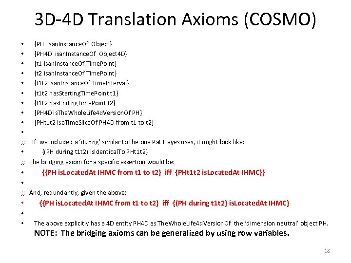 3 D-4 D Translation Axioms (COSMO) • {PH isan. Instance. Of Object} • {PH