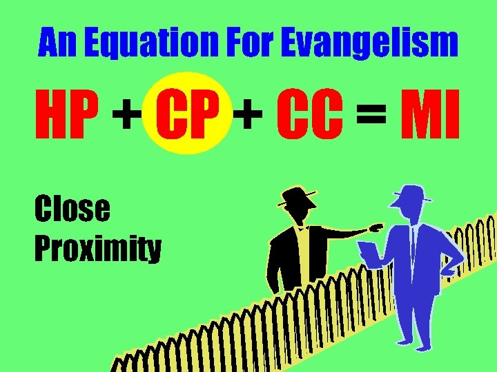 An Equation For Evangelism HP + CC = MI Close Proximity