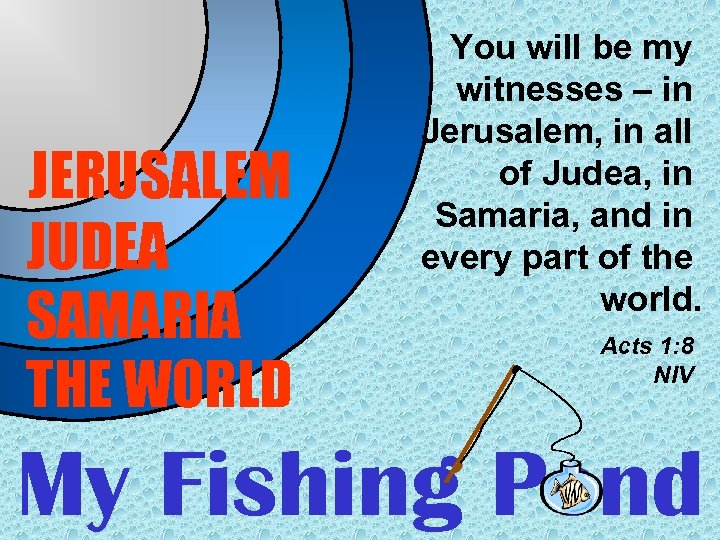 JERUSALEM JUDEA SAMARIA THE WORLD You will be my witnesses – in Jerusalem, in