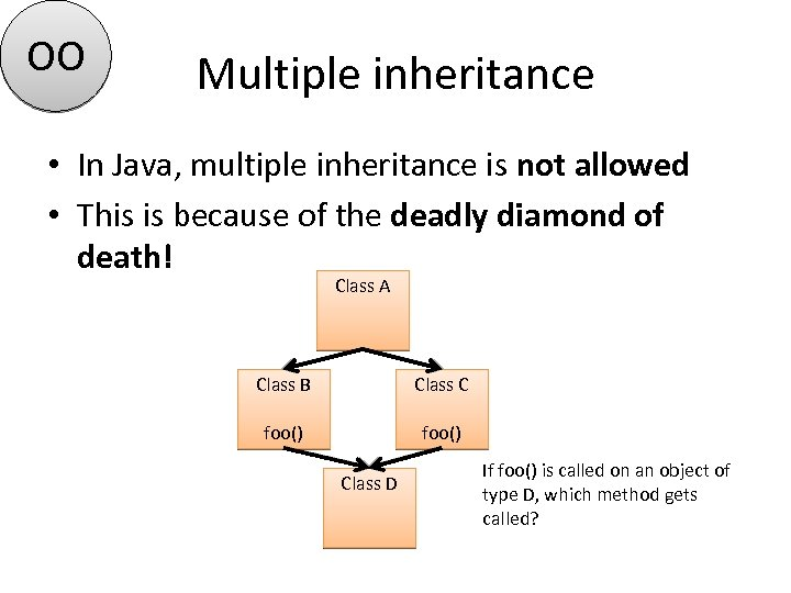 OO Multiple inheritance • In Java, multiple inheritance is not allowed • This is