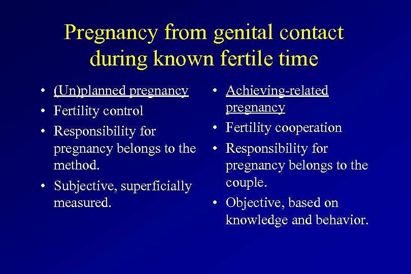 Pregnancy from genital contact during known fertile time • (Un)planned pregnancy • Fertility control