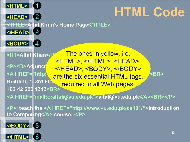 <HTML> 1 <HEAD> 2 <TITLE>Altaf Khan's Home Page</TITLE> </HEAD> 3 <BODY> HTML Code 4