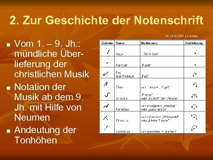 2. Zur Geschichte der Notenschrift Dr. 19. 41 GNU 1. 2 or later n