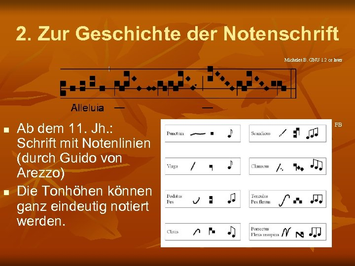 2. Zur Geschichte der Notenschrift Michelet B. GNU 1. 2 or later n n
