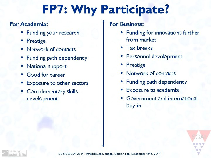 FP 7: Why Participate? For Academia: • Funding your research • Prestige • Network