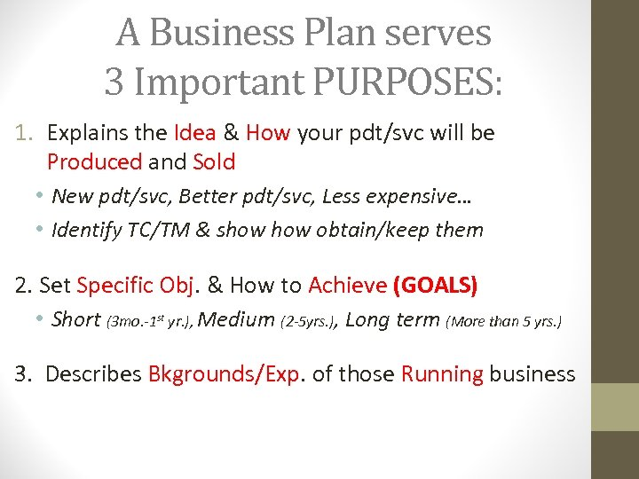 A Business Plan serves 3 Important PURPOSES: 1. Explains the Idea & How your