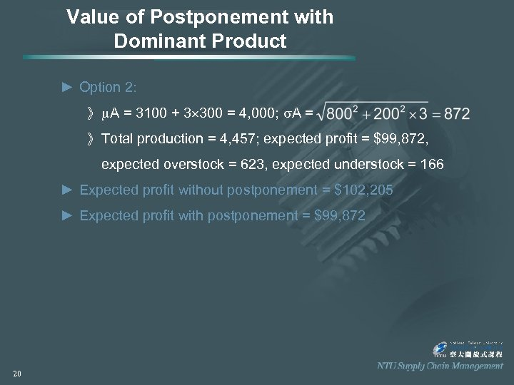 Value of Postponement with Dominant Product ► Option 2: 》 A = 3100 +
