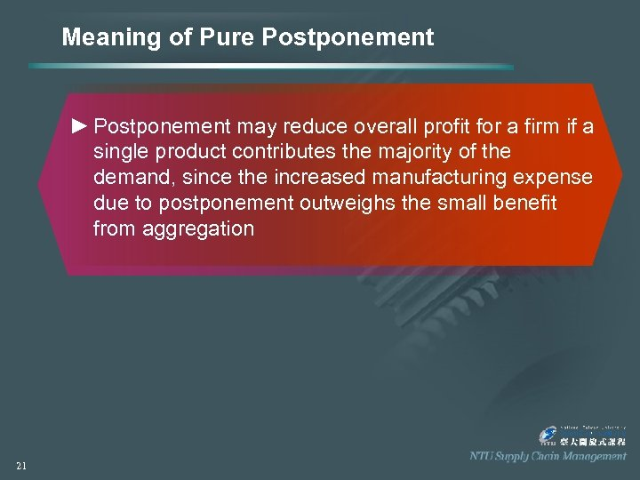 Meaning of Pure Postponement ► Postponement may reduce overall profit for a firm if