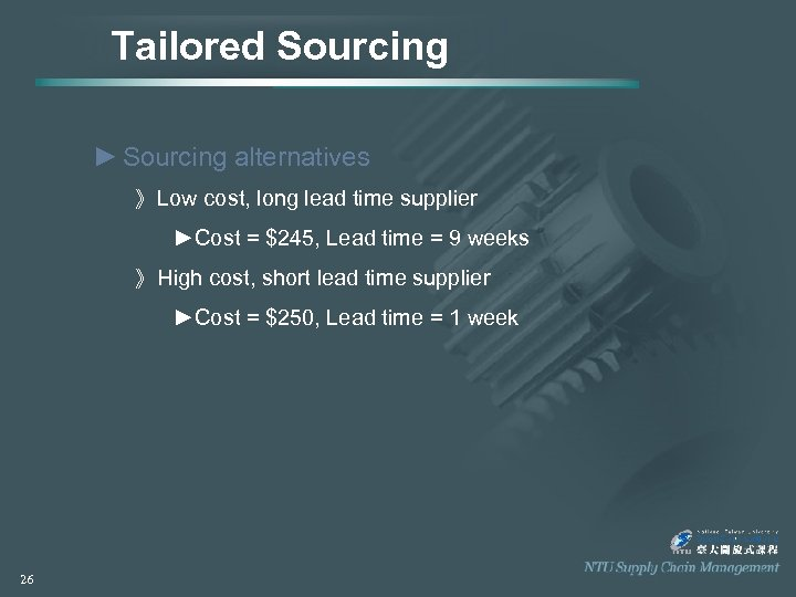 Tailored Sourcing ► Sourcing alternatives 》 Low cost, long lead time supplier ►Cost =