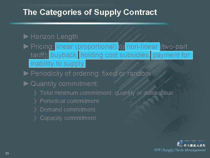 The Categories of Supply Contract ► Horizon Length ► Pricing: linear (proportional) or non-linear