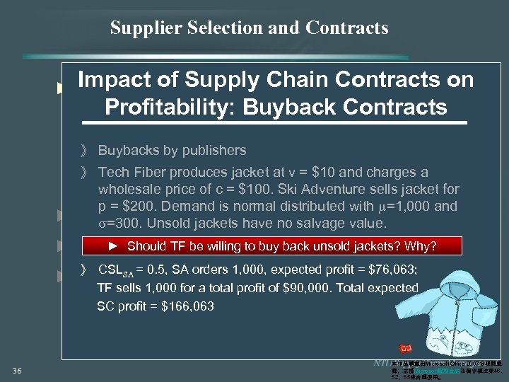 Supplier Selection and Contracts Impact of Supply Chain Contracts on ► Contracts for Product