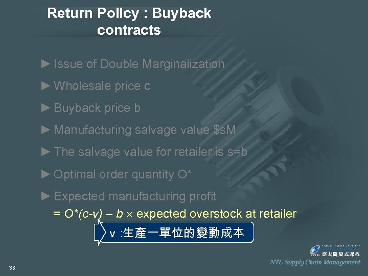Return Policy : Buyback contracts ► Issue of Double Marginalization ► Wholesale price c