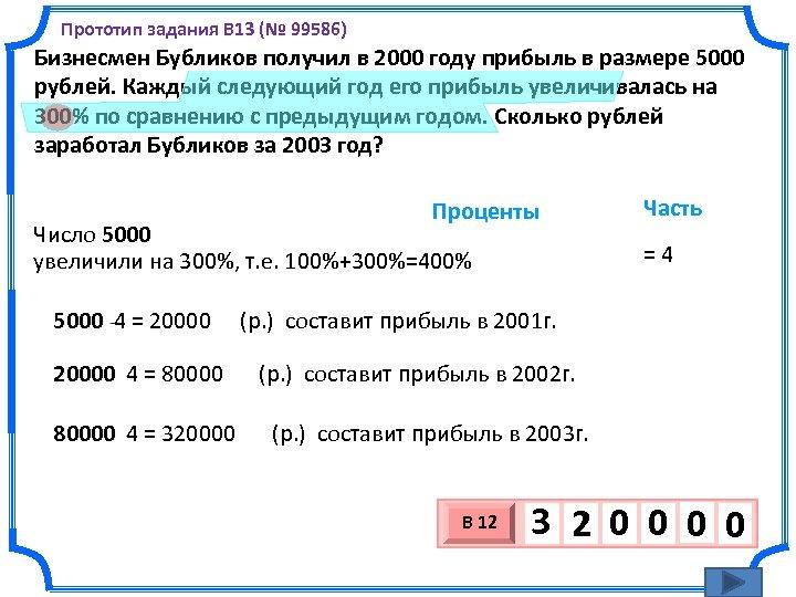 Прототип задания B 13 (№ 99586) Бизнесмен Бубликов получил в 2000 году прибыль в