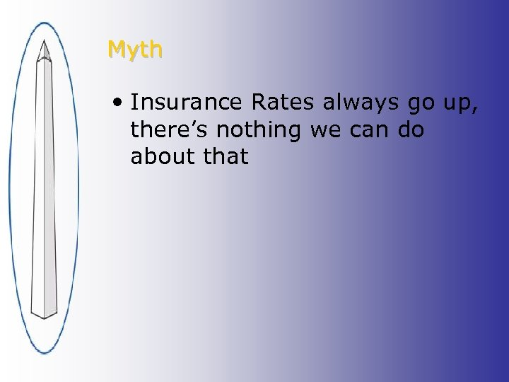 Myth • Insurance Rates always go up, there's nothing we can do about that