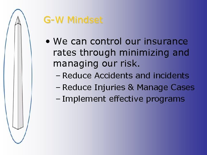 G-W Mindset • We can control our insurance rates through minimizing and managing our