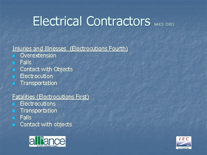 Electrical Contractors Injuries and Illnesses (Electrocutions Fourth) n Overextension n Falls n Contact with