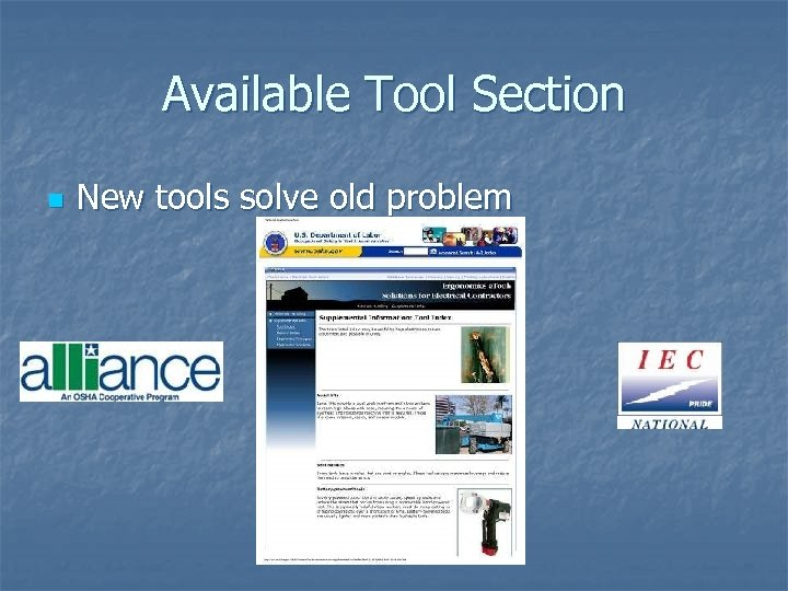 Available Tool Section n New tools solve old problem