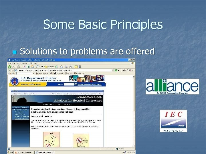 Some Basic Principles n Solutions to problems are offered