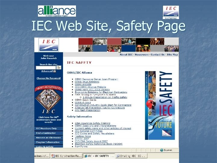 IEC Web Site, Safety Page