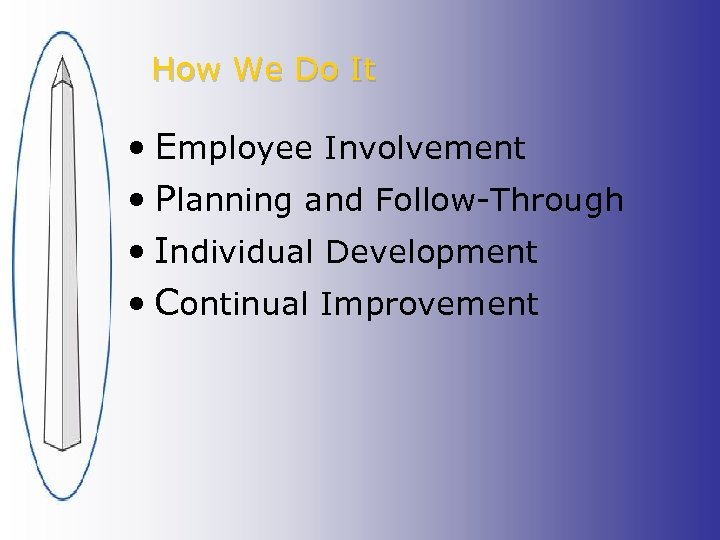 How We Do It • Employee Involvement • Planning and Follow-Through • Individual Development