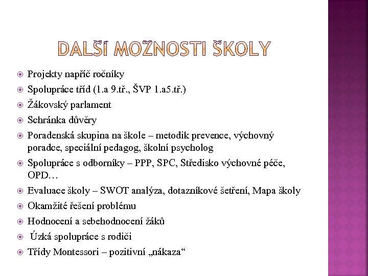 Projekty napříč ročníky Spolupráce tříd (1. a 9. tř. , ŠVP 1. a