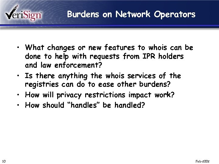 Burdens on Network Operators • What changes or new features to whois can be