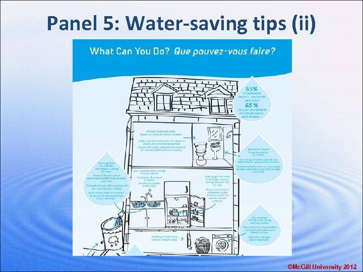Panel 5: Water-saving tips (ii) ©Mc. Gill University 2012
