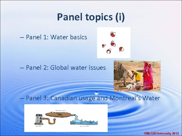 Panel topics (i) – Panel 1: Water basics – Panel 2: Global water issues