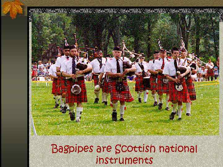Bagpipes are Scottish national instruments