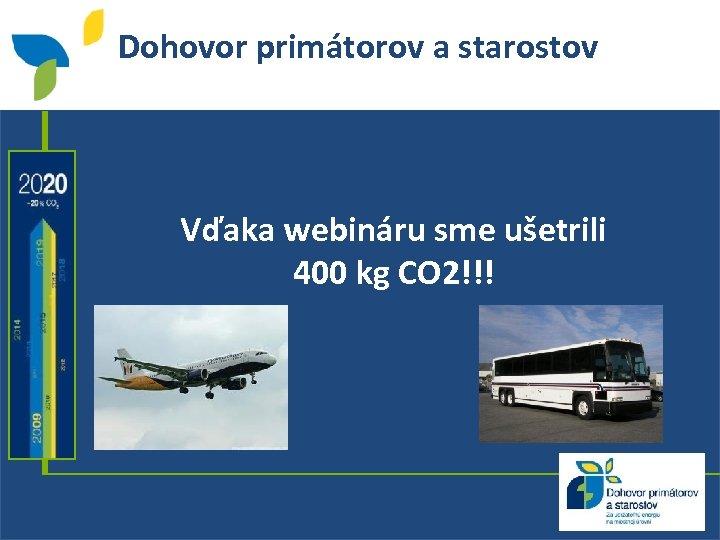 Dohovor primátorov a starostov Vďaka webináru sme ušetrili 400 kg CO 2!!! 2