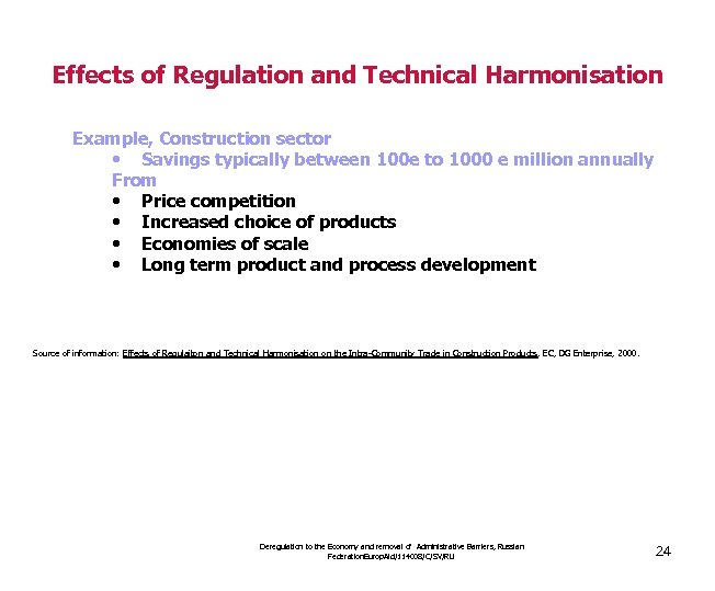 Effects of Regulation and Technical Harmonisation Example, Construction sector • Savings typically between 100