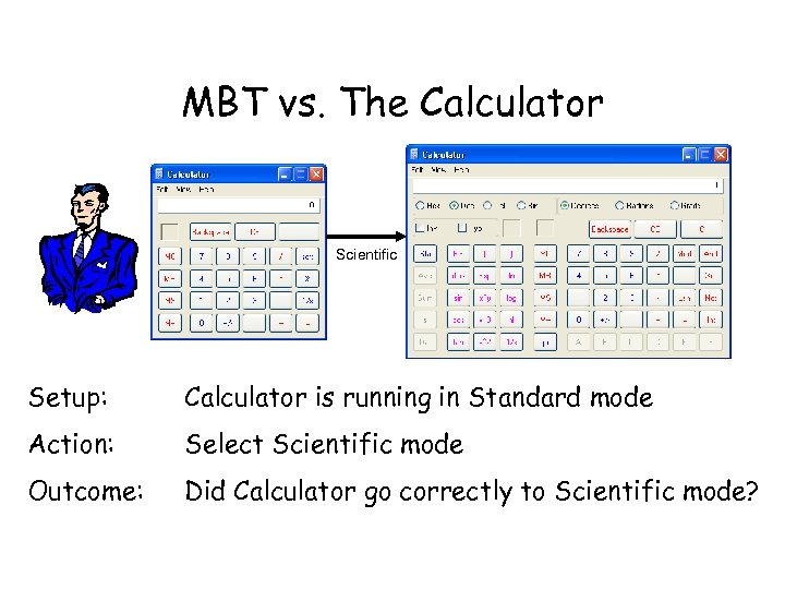 MBT vs. The Calculator Scientific Setup: Calculator is running in Standard mode Action: Select