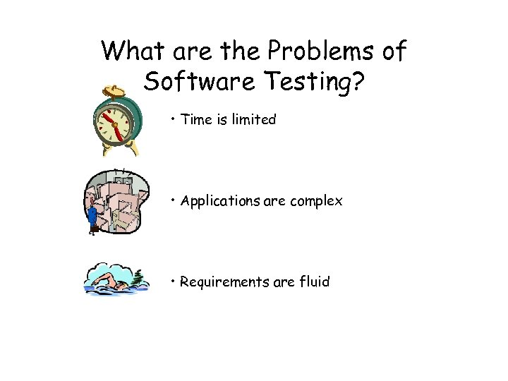 What are the Problems of Software Testing? • Time is limited • Applications are