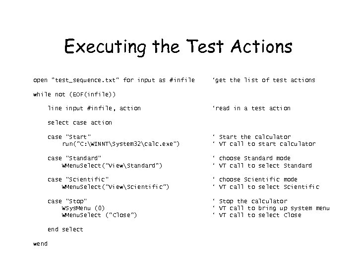 Executing the Test Actions open