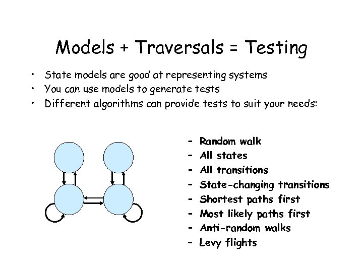 Models + Traversals = Testing • State models are good at representing systems •