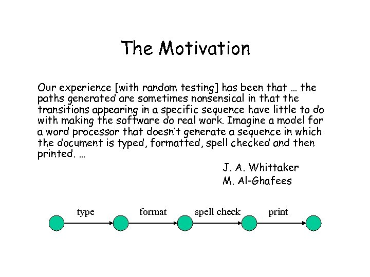 The Motivation Our experience [with random testing] has been that … the paths generated