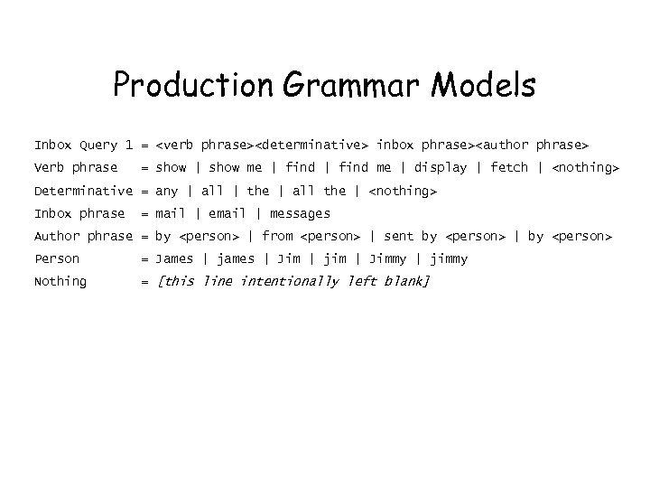 Production Grammar Models Inbox Query 1 = <verb phrase><determinative> inbox phrase><author phrase> Verb phrase
