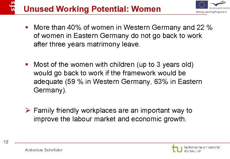 Unused Working Potential: Women § More than 40% of women in Western Germany and