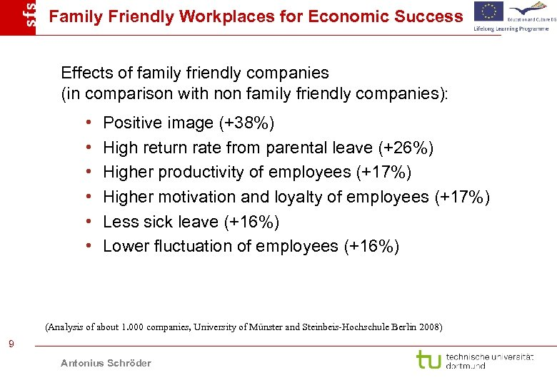 Family Friendly Workplaces for Economic Success Effects of family friendly companies (in comparison with