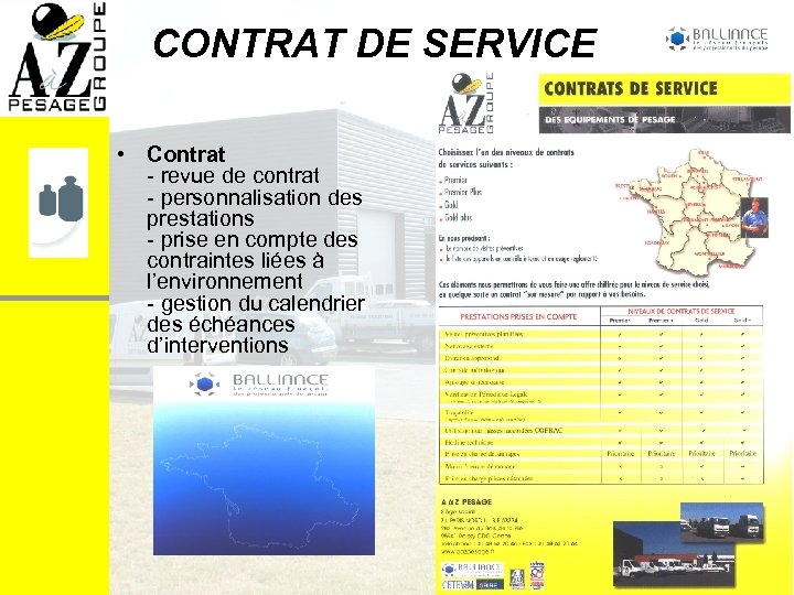 CONTRAT DE SERVICE • Contrat - revue de contrat - personnalisation des prestations -