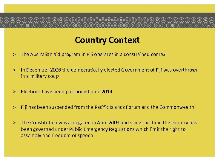 Country Context > The Australian aid program in Fiji operates in a constrained context