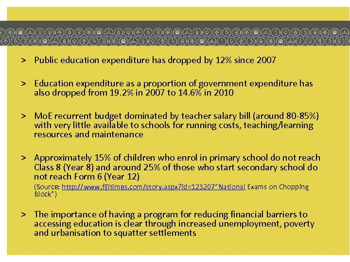 > Public education expenditure has dropped by 12% since 2007 > Education expenditure as
