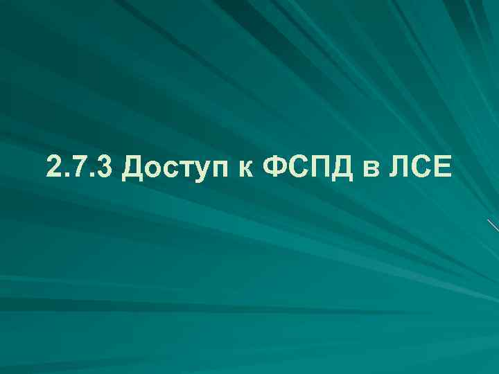 2. 7. 3 Доступ к ФСПД в ЛСЕ