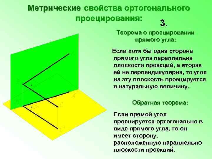 Метрические свойства ортогонального проецирования: 3. Теорема о проецировании прямого угла: Если хотя бы одна