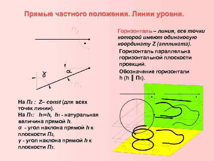 Прямые частного положения. Линии уровня. Горизонталь – линия, все точки которой имеют одинаковую координату