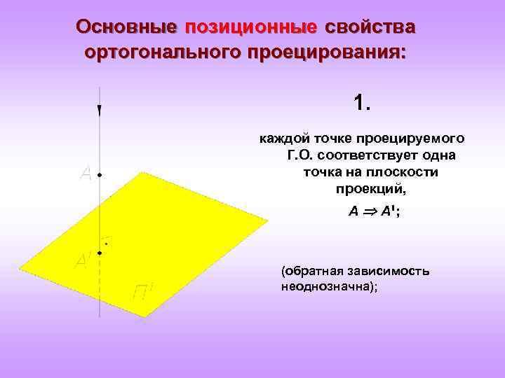 Основные позиционные свойства ортогонального проецирования: 1. каждой точке проецируемого Г. О. соответствует одна точка