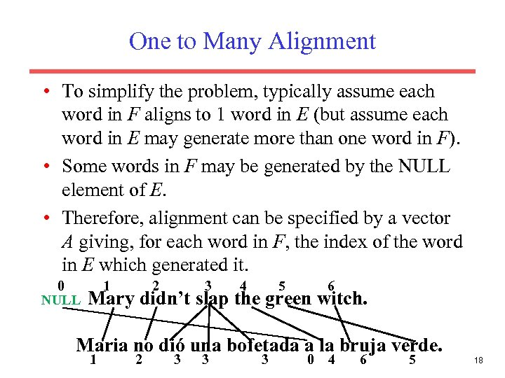One to Many Alignment • To simplify the problem, typically assume each word in