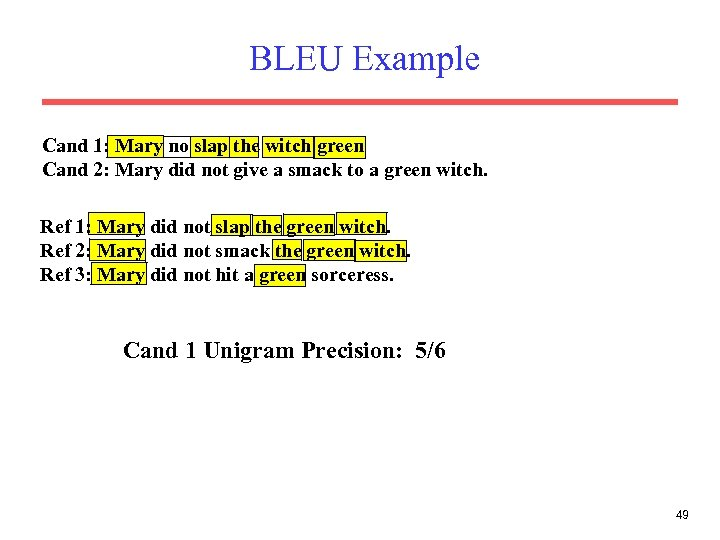 BLEU Example Cand 1: Mary no slap the witch green Cand 2: Mary did